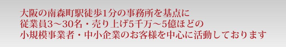 大阪の南森町駅徒歩1分の事務所を基点に従業員3~30名・売り上げ5千万~5億ほどの小規模事業者・中小企業のお客様を中心に活動しております